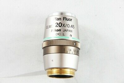 Nikon Plan Fluor Elwd 20x 0.45 Dic L Microscope Objective For Eclipse 1385
