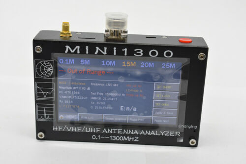 MINI1300 0.1-1300mhz HF/VHF/UHF Antenna Analyzer Capacitive Touch Screen SWR
