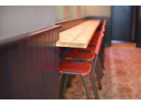 Classic school-style red/metal chairs x19 plus bar height x5