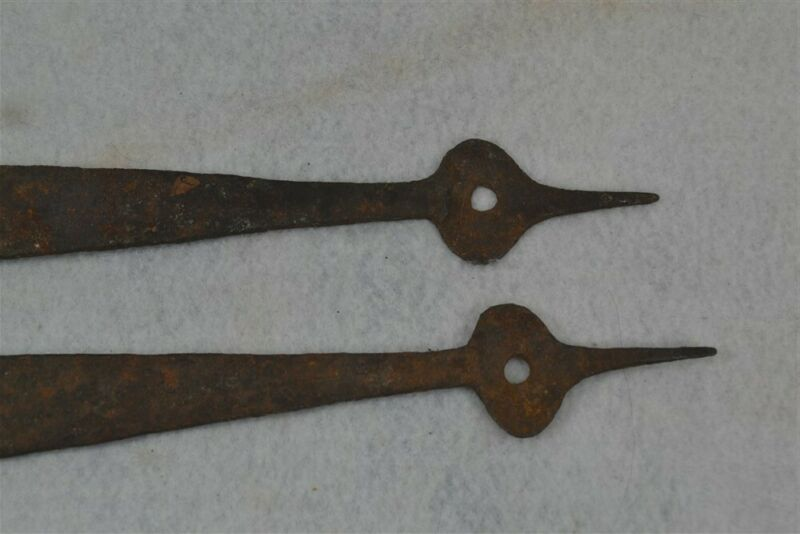 hinges antique strap pair matching hand forged iron 21 in original 18th 19thc