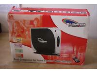 Media Bank Portable USB 2.5 inch hard drive enclosure AV/TV output, remote, and 120GB hard drive