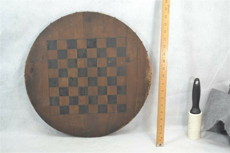 antique game board checker chess round primitive paint date June 1888 original