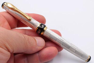 Silver 925 Wickerwork Pen Fine Nib Blue Ink Waterman Cartridges Handmade