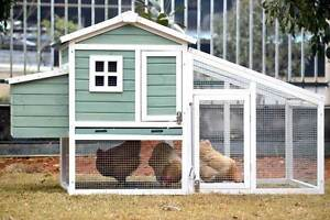 Sage Green & White Large Chicken Coop with Run - Ready to Collect Osborne Port Adelaide Area Preview
