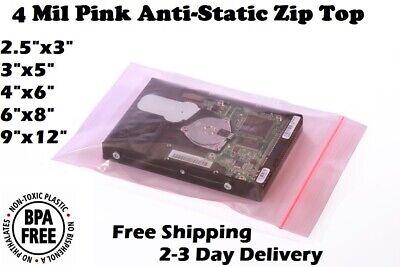 Anti Static Bag Pink Poly Zip Seal 4mil Reclosable Lock Top 2x3568912