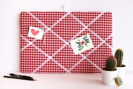Red gingham fabric noticeboard, memo board, red check pin board, 48x32cm