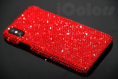 Red Crystal Case (Bling Red Crystal Diamond Case PC Hard Cover For iPhone X W/H SWAROVSKI ELEMENTS)