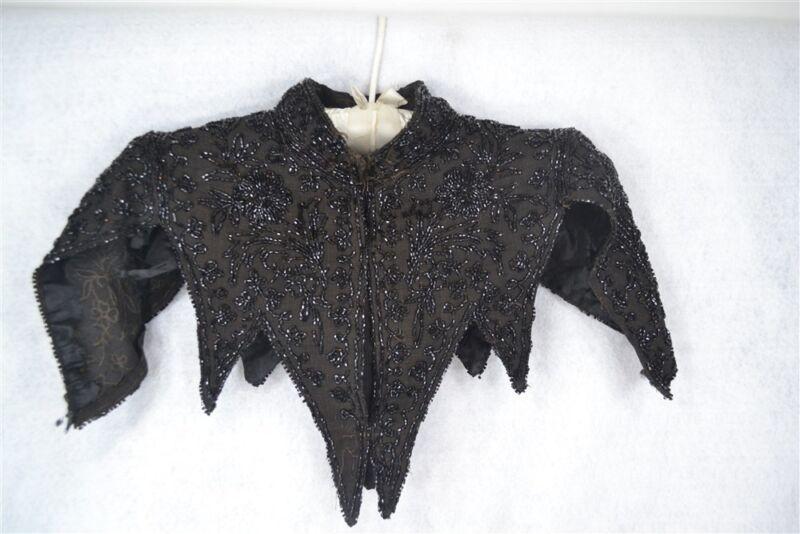 collar shawl capelet black bead gabardine capelet Victorian 1890 antique