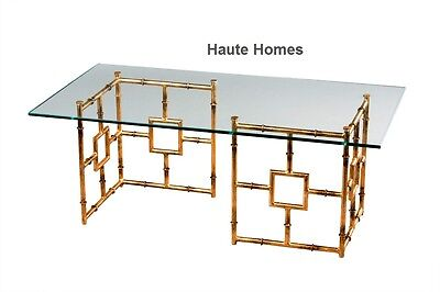Beveled Glass Cocktail Table (NEW HOLLYWOOD REGENCY GOLD BAMBOO Iron COFFEE  COCKTAIL Table Beveled Glass  )