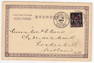 CHINA 1901 Shanghai French P.O. Cover Postcard to Scotland Lockerbie