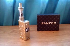 GENUINE PANZER 50W TC VARIABLE WATTAGE E SHISHA HIGH QUALITY BOX MOD + AMIGO RIPTIDE SUB TANK GOLD