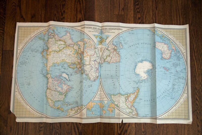 Vintage National Geographic World Map