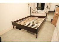 IKEA Dark wood , metal frame double bed No matress