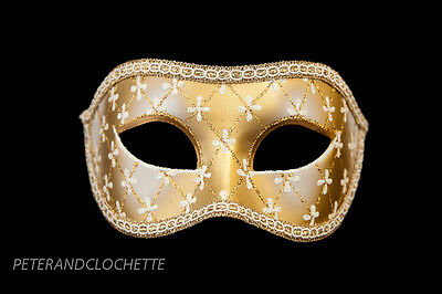 Mask from Venice Colombine Lea White and Golden for Prom Mask 958 V4B