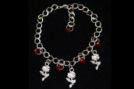 bracelet silver plated with red beads and Roses handmade