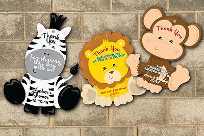 Jungle Baby Shower Birthday Tags Thank You Favors Zebra Monkey Lion Decorations](Zebra Baby Shower Decorations)