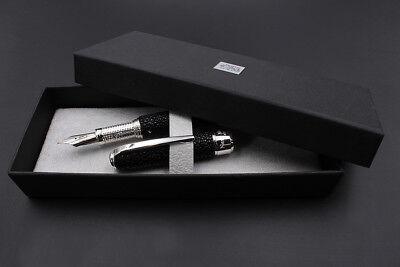 Silver & Marine Stingray Thetis Pen Fine Nib Black Ink Waterman Cartridges