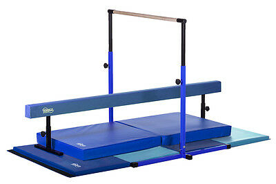 New Kids Home Gym Set - Blue Bar, Beam and Mat Set - Made in