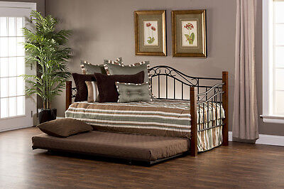 (Hillsdale Matson Daybed with Suspension Deck and Trundle - Cherry/Black NEW)