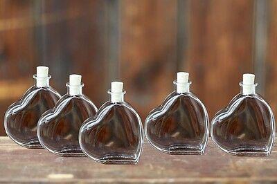 Glasflasche Herz 5x200ml leere Flasche mit Schraubverschluss Öl Saft 5 Stück