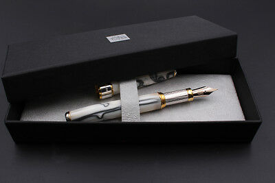 925 Silver Glacier Fountain Pen Stunning Resin Broad Nib Converter & Cartridges