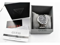 Men's Guess Wafer Stainless Steel Watch Black Face Worn Once Mint Condition