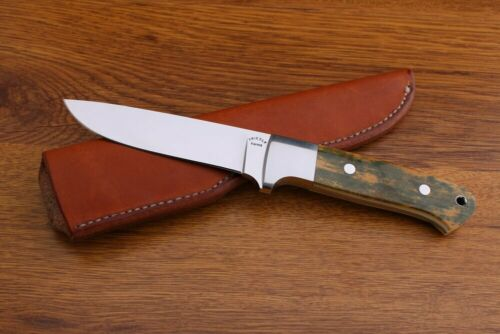 D.E. FRIEDLY LARGE HANDMADE HUNTING KNIFE. STAINLESS, FOSSILIZED HANDLE, SHEATH