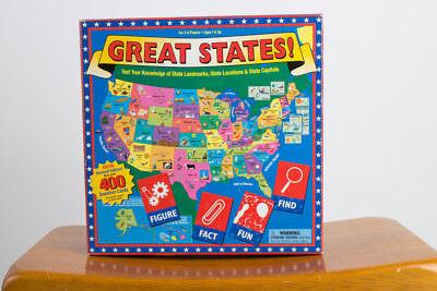 Great States! US Trivia Board Game American Landmarks Locations Capitals Fun - Us Trivia
