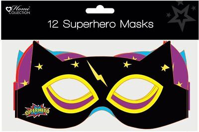 Children's Cardboard Birthday Party Mask - Superhero Masks - 12 Pack