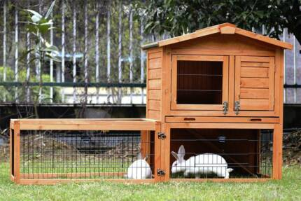 2 Storey Rabbit Hutch with Run Guinea Pig Ferret Cage RH064