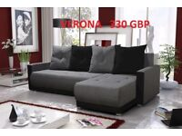 Corner sofa bed sofa bed UK STOCK 1-2 DAY DELIVERY Verona Grey -Black