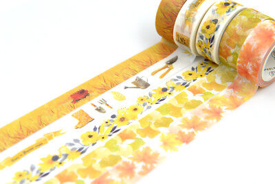 Autumn Washi tape Maple ginkgo leaf yellow plum blossom Wheat Garden - Fall Washi Tape