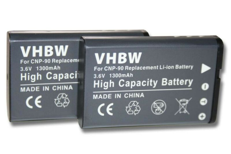 2x+BATTERY+1300mAh+for+Casio+Exilim+EX-H15+HI-Zoom+%2F+NP-90