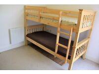 Excellent Pine wood bunk bed - can be used as 2 single bed