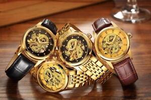 Men Luxury Mechanical Business Watch 3D Carving Dragon   Free Shipping