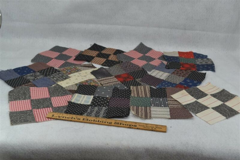 antique quilt blocks 12 early brown blue red 6 x 6 cotton 1890