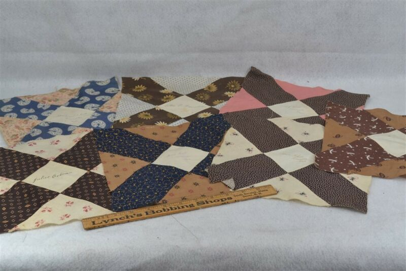 antique quilt blocks lot 7 signature early brown blue 1889 Leominster Mass