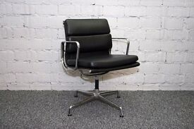 EAMES STYLE SOFT PAD EA 208 CHAIR LEATHER OFFICE BOARD ROOM MEETING VISITOR RECEPTION CHAIR