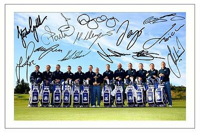 EUROPE 2014 RYDER CUP TEAM SIGNED AUTOGRAPH PHOTO PRINT GOLF