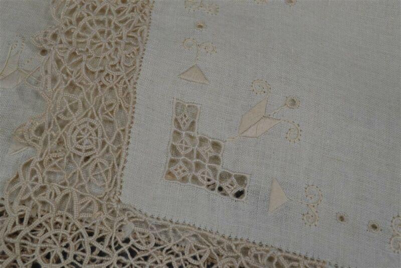 placemats linen needle lace 8 matching place mats off white linen antique vg