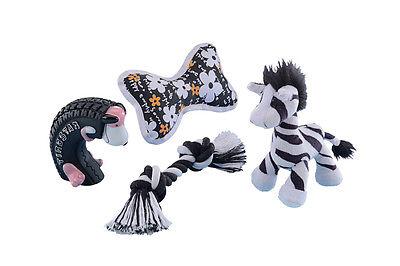 Hundespielzeug Mix für Welpen 4 teilig schwarz/weiß