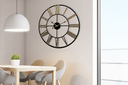 Rustic Industrial Slim Black and Gold Iron Wall Clock 29'' Diameter Decorations