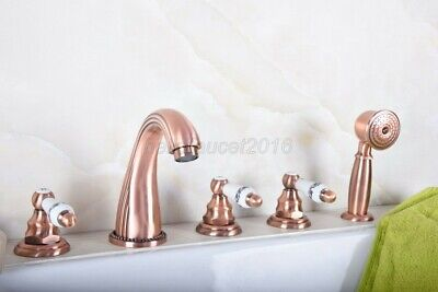 Red Copper 5 hole Deck Mounted Bathroom Shower Faucet Tub Hand Shower ltf188