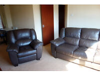 Large leater sofa and armchair.