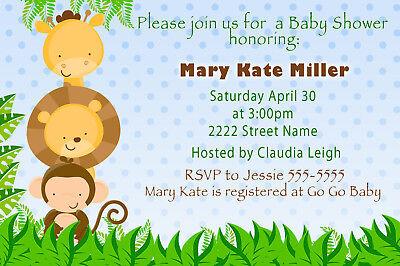30 Jungle Invitations Boy Birthday Party Baby Shower Sprinkle Blue A1](Sprinkle Baby Shower Invitations)
