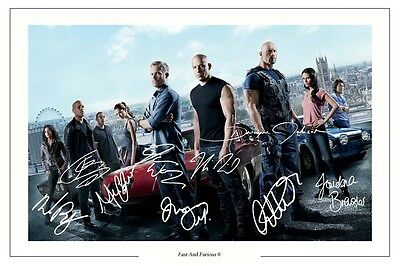 FAST AND FURIOUS 6 CAST X 10 SIGNED PHOTO PRINT AUTOGRAPH POSTER VIN DIESEL