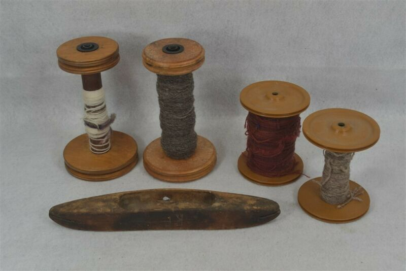 old spinning wheel parts spools old/new  plastic lot 5 yarn winder