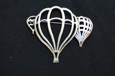 """SIGNED BW STERLING SILVER LARGE HOT AIR BALLOON PIN BROOCH 6.3 GRAMS 1.5"""" WIDE"""
