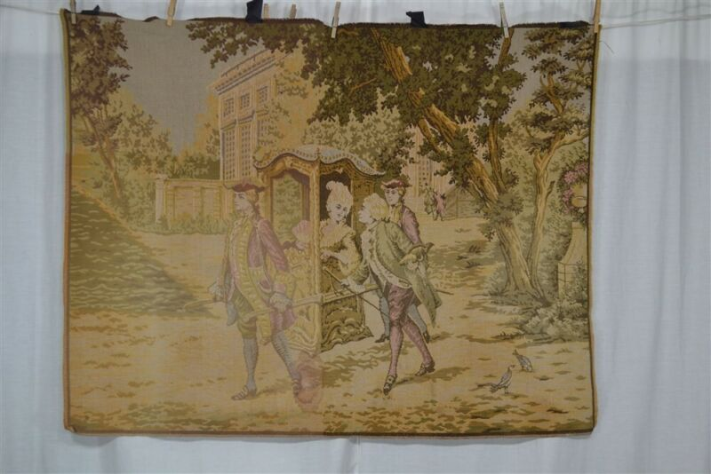 """tapestry wall hanging cotton woven Victorian 30x51"""" renaissance 1800"""