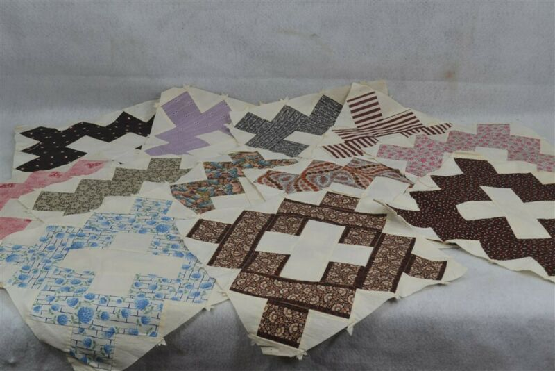 antique quilt blocks lot 12 early brown blue squares original